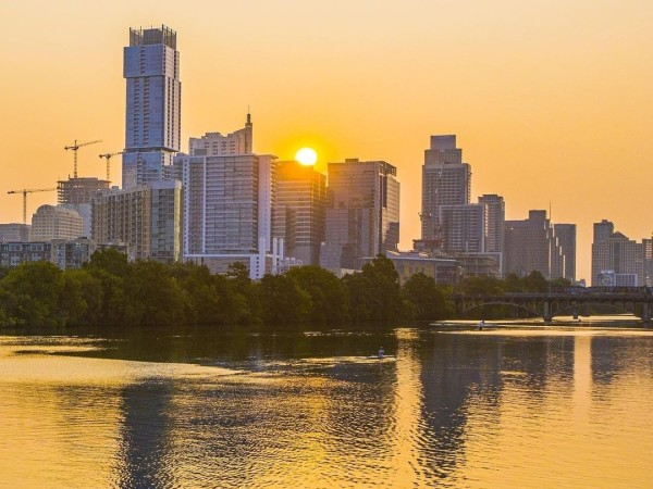 Austin skyline with lake