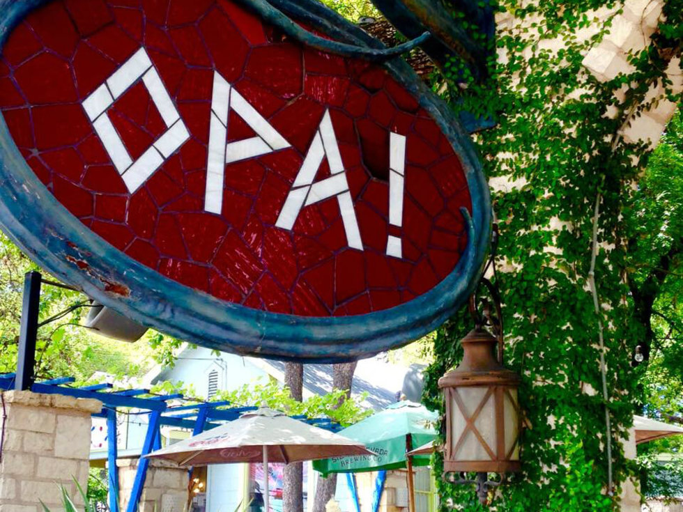 Opa Coffe and Wine Bar Austin sign patio 2015