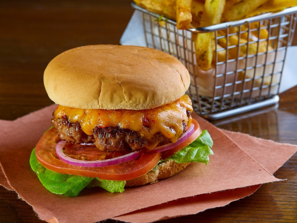 Pimento cheese burger at Knife restaurant in Dallas