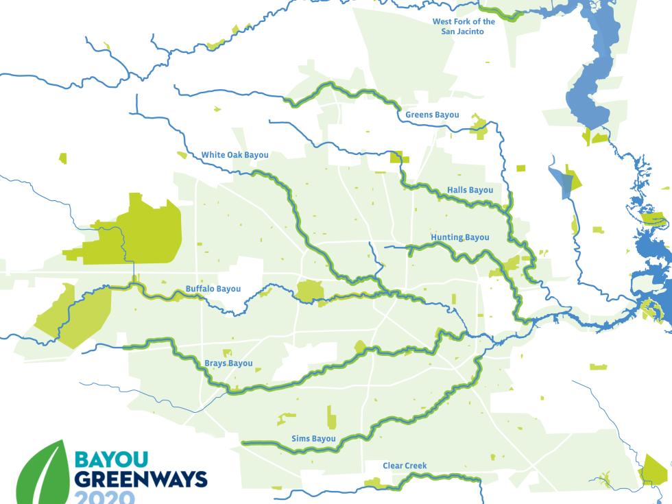 Houston Parks Board bayou map