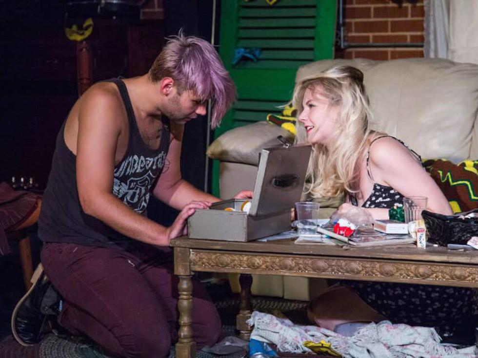 Dustin Simington and Erika Larsen in Trainspotting