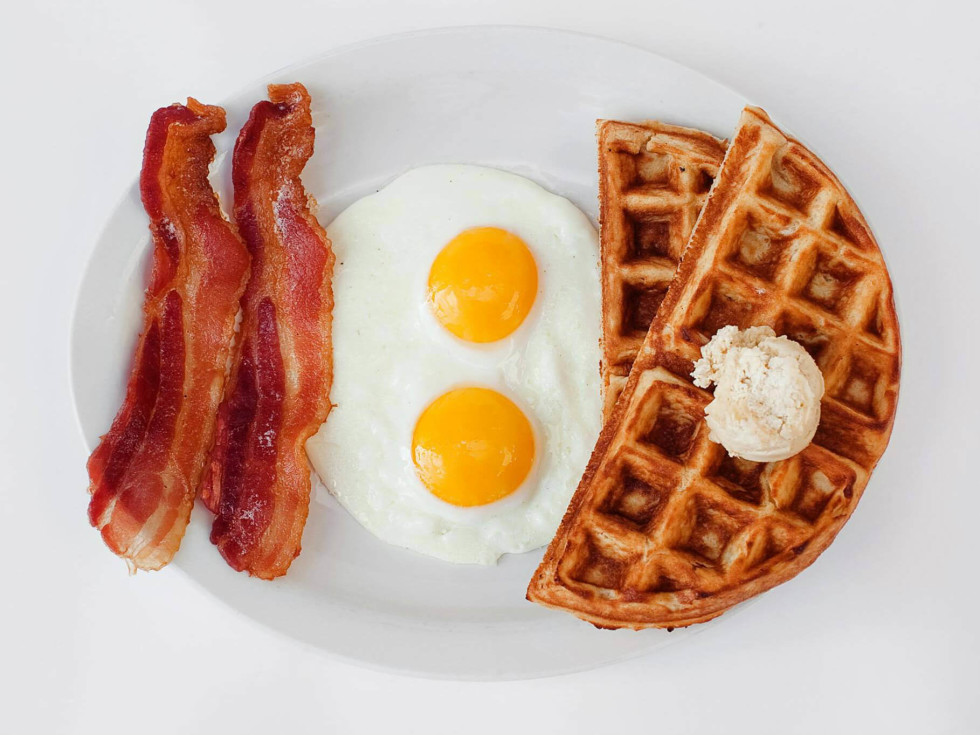 Bacon, eggs and waffles from 24 Diner
