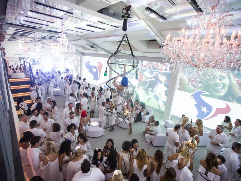Loya Texans White Out party, 9/16 decor