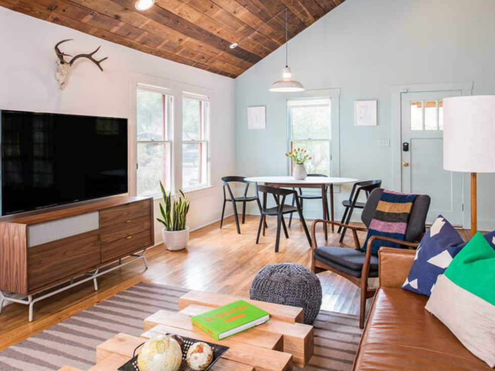 Austin home house Houzz midcentury bachelor pad 2016