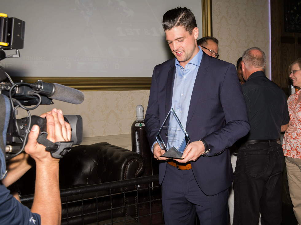 Jamie Benn with his NMSS award