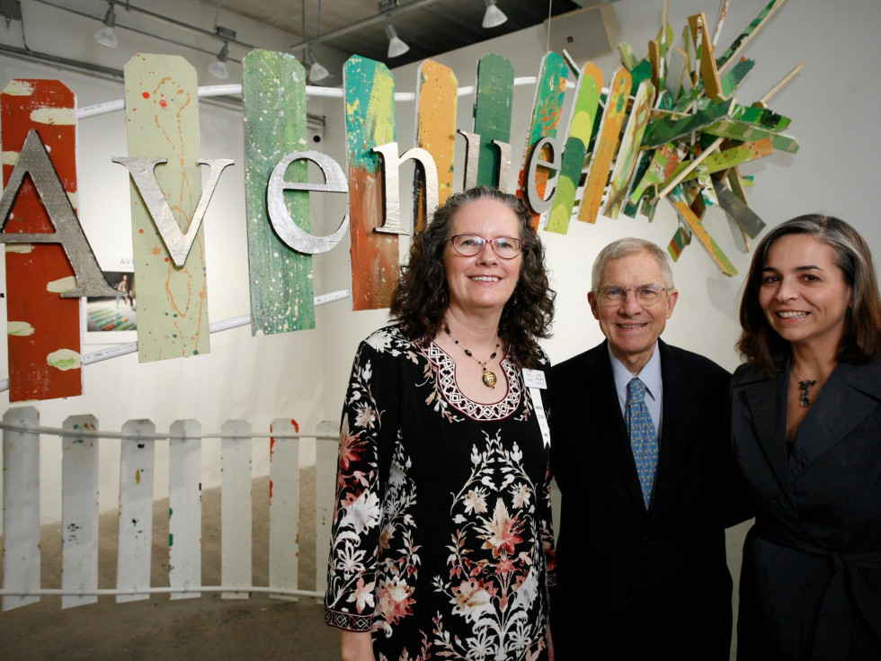 Avenue CDC Executive Director Mary Lawler (left) with Honorary Chair John E. Walsh (center) and Debbie McNulty, director of the Mayor's Office of Cultural Affairs
