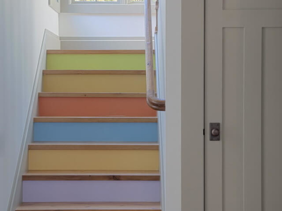 Rustic painted stairs home decor