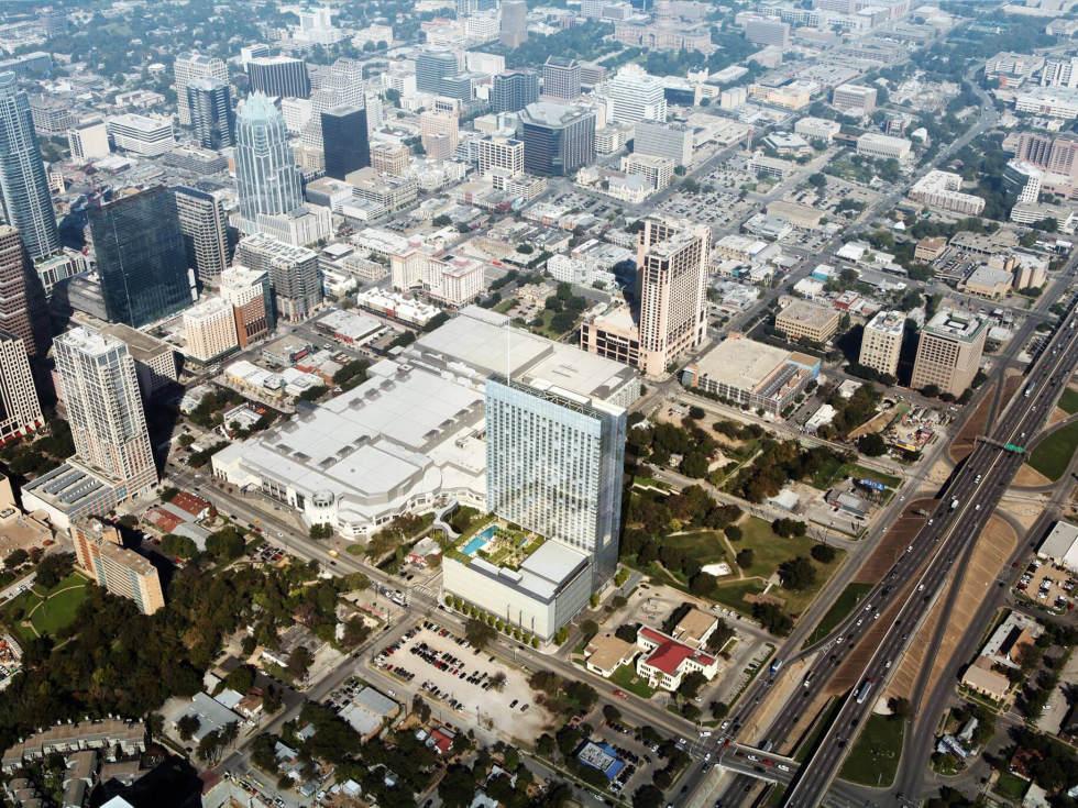 Fairmont Austin hotel Austin Convention Center rendering aerial