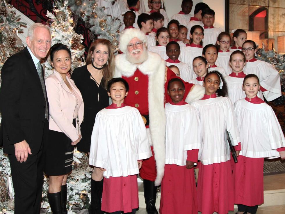 MD Anderson Santa's Elves party, Stephen Roddy, Lynda Chin, Paige Fertitta, Santa, Houston's Children's Chorus