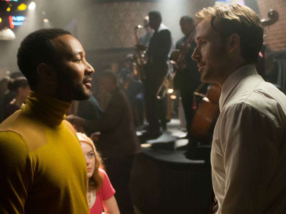 John Legend, Emma Stone, and Ryan Gosling in La La Land
