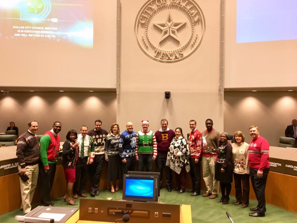 Dallas City Council, ugly Xmas sweater