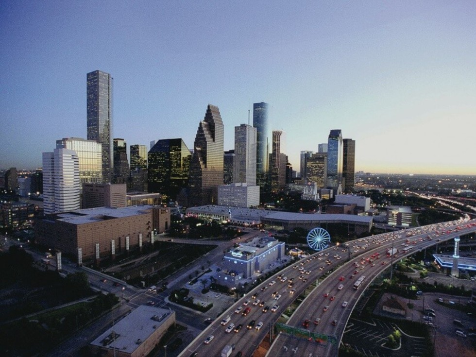 Houston skyline freeway aerial