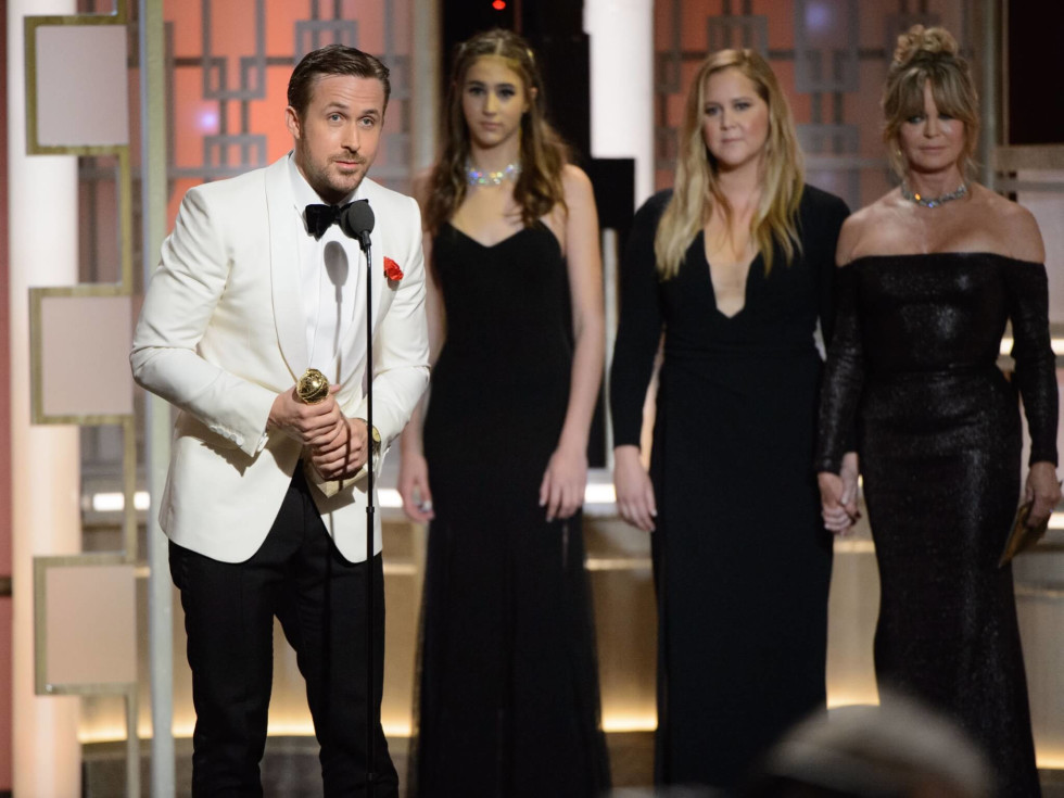 Ryan Gosling, Stallone daughters at Golden Globes 2017