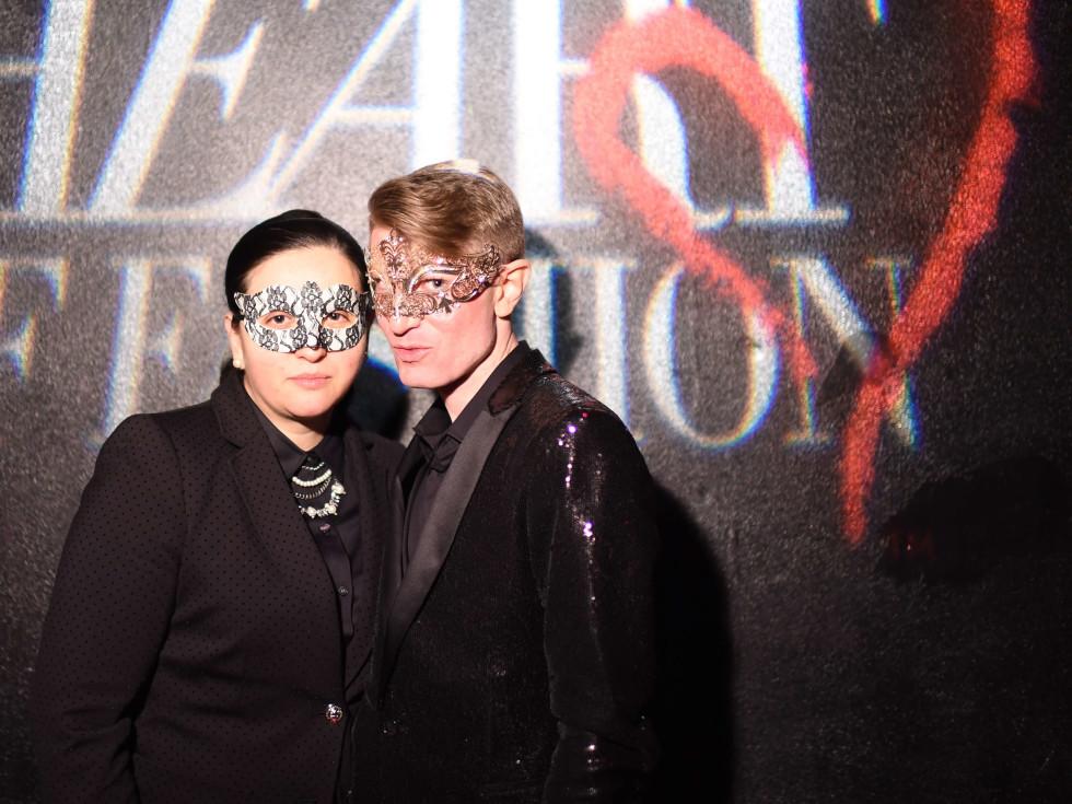 V Hernandez and James Napier at Heart of Fashion Masquerade Ball