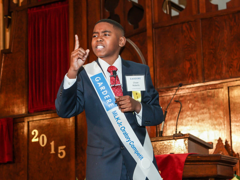 Chase Roberts, 5th grader from Cornelius Elementary, performs his winning speech at the 19th Annual Gardere MLK Jr. Oratory Competition on Jan. 16, 2015.