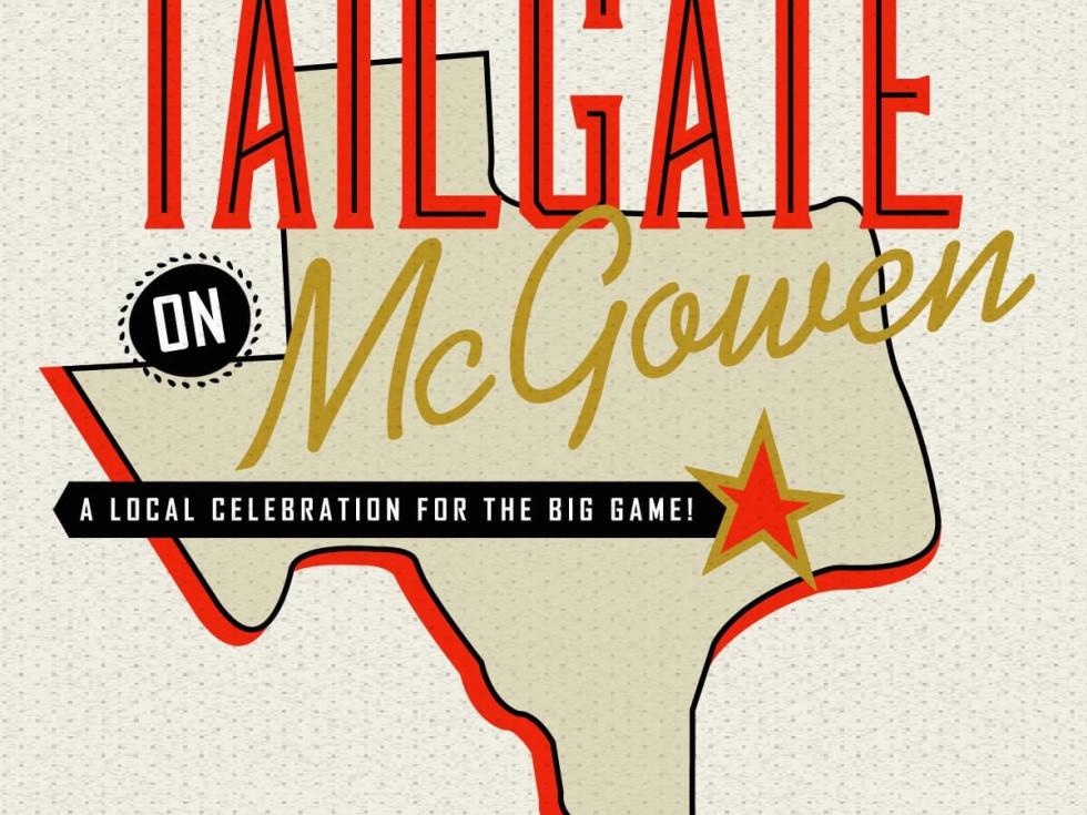 Tailgate on McGowen Super Bowl party logo