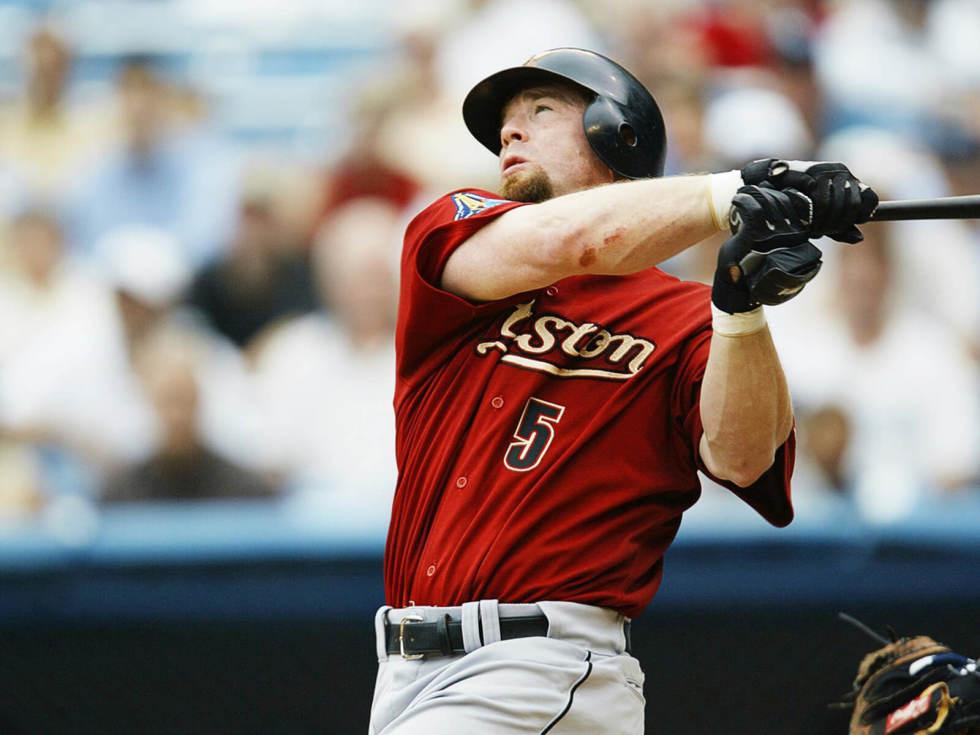 JUNE 12- Baseball- Closeup of Houston Astros Jeff Bagwell in action vs New York Yankees, Bronx, NY 6-12-2003