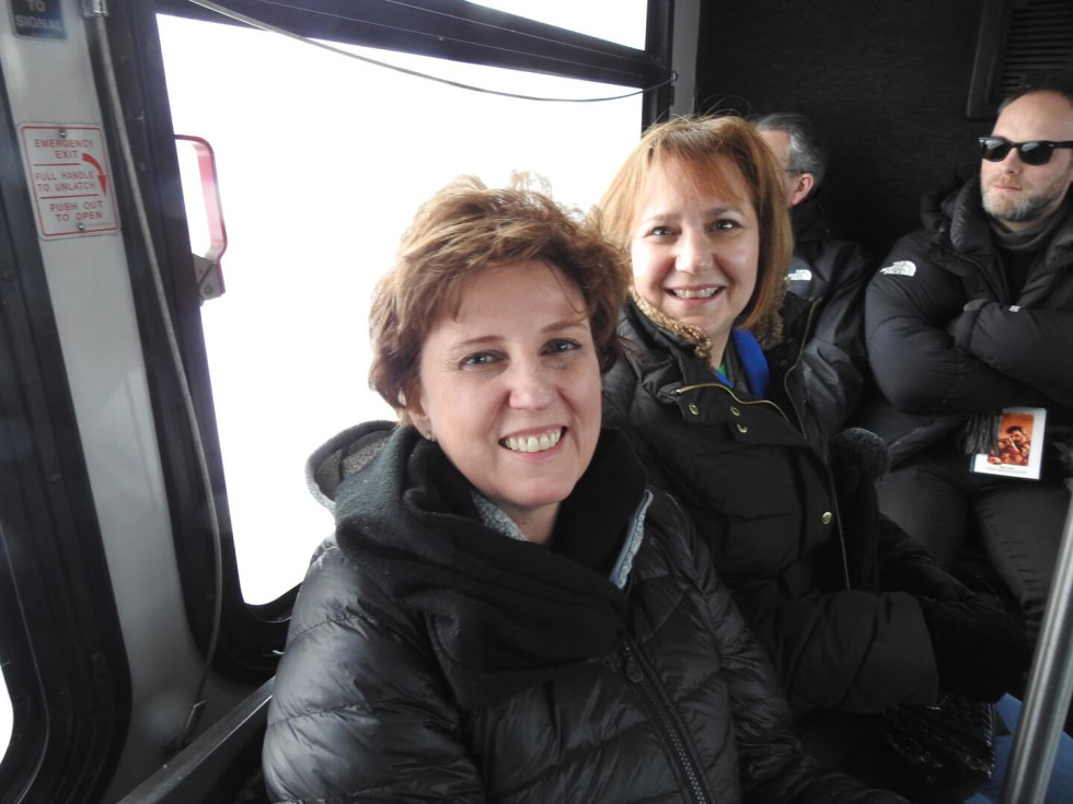 Debbie Bauer and Marie Brown using Sundance's convenient bus system to get to the next movie at at the 2017 Sundance Film Festival