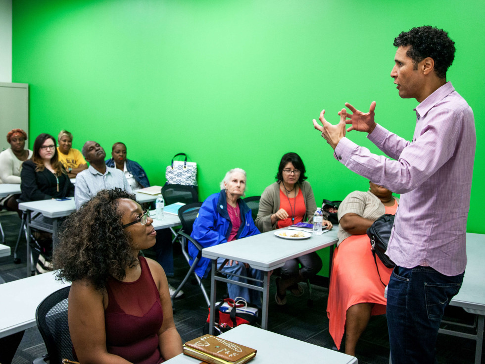 Will Power teaching a Public Works Dallas workshop at Literacy Instruction for Texas