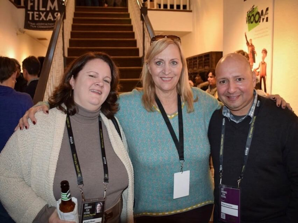 Michelle Mower short film producer/actor Marilyn Swick and Deputy Director of Texas Film Commission Alfred Cervantes at the Texas Film Festival Reception held on Main Street during the 2017 Sundance Film Festival