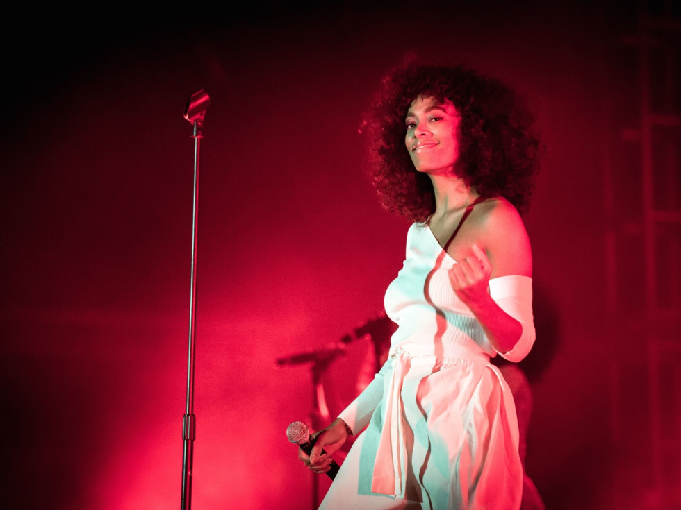 Solange performs at Super Bowl Live