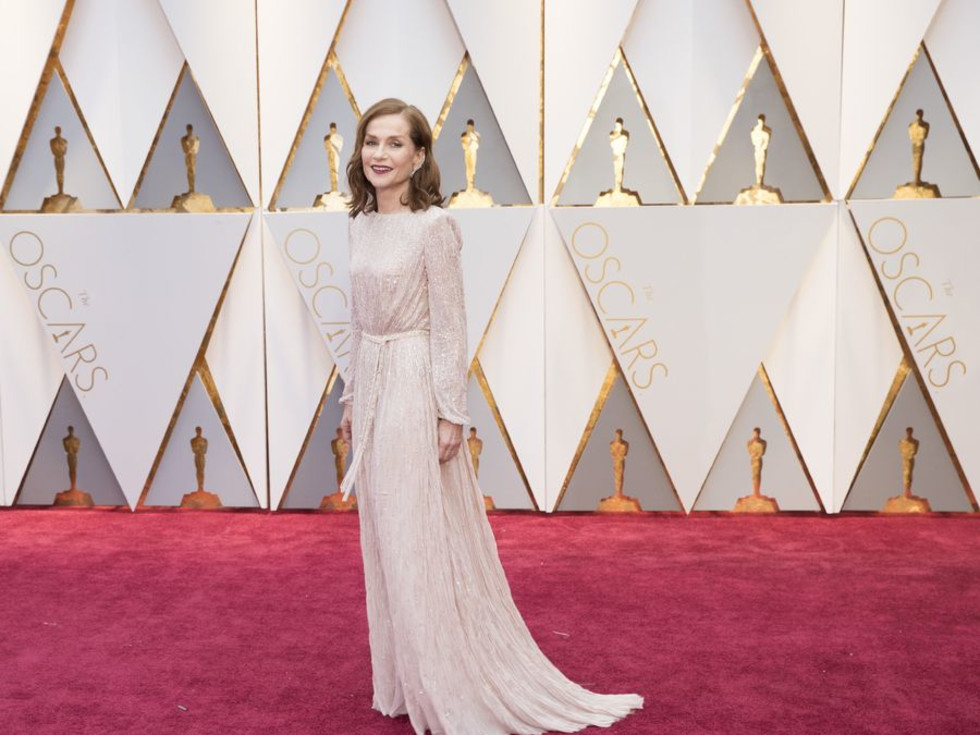 Isabelle Huppert at Oscars 2017 in Armani Prive