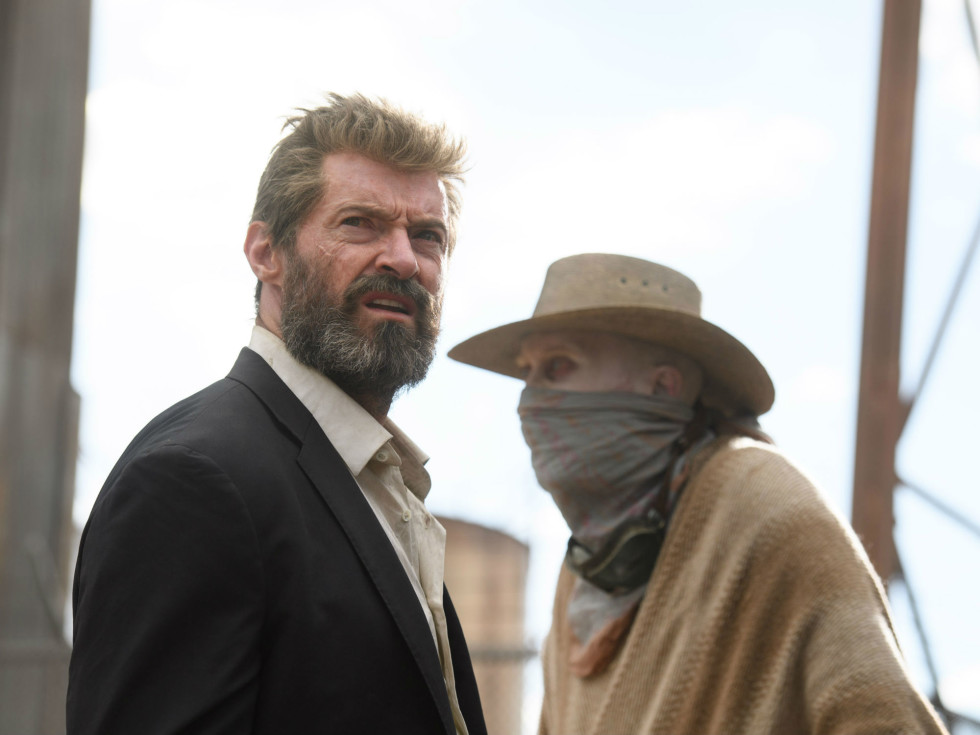 Hugh Jackman and Stephen Merchant in Logan