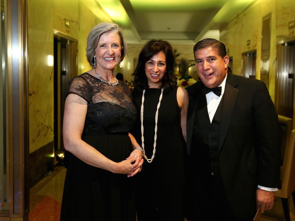 "Cathy Cameron, Dr. Margo Melchor and John Hernandez at the Ars Lyrica ""Roaring Twenties"" Gala"