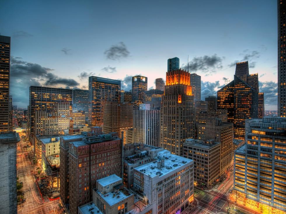 Houston skyline at night wallpaper stylized