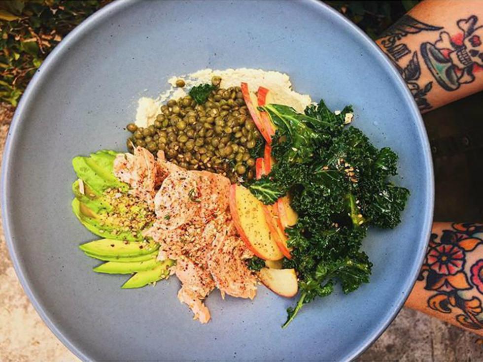 Epicerie's salmon + kale salad