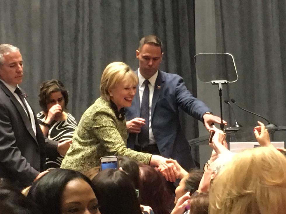 Hillary Clinton greets crowd at Annie's List luncheon
