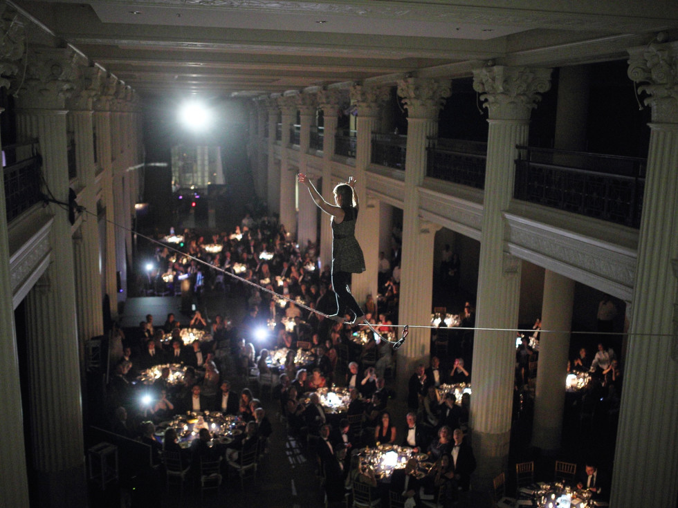 Denali Foundation Gala, Faith Dickey on high wire