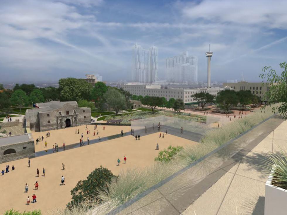 Alamo Master Plan 2017 museum rooftop view rendering