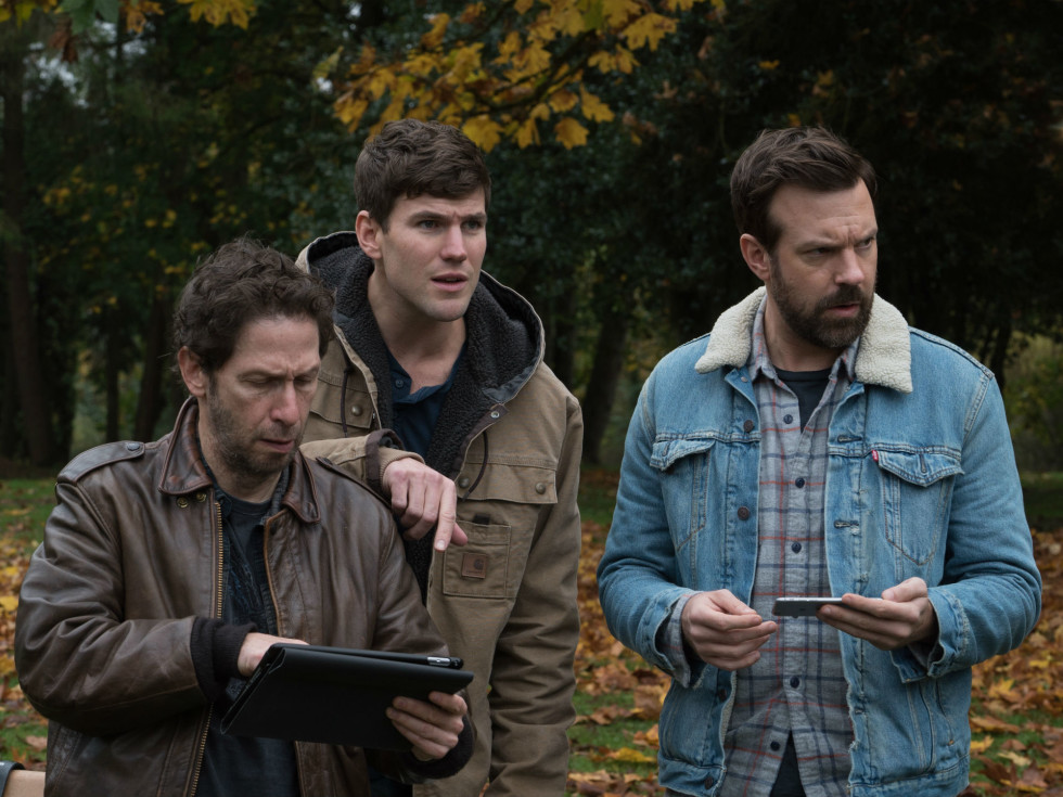 Tim Blake Nelson, Austin Stowell, and Jason Sudeikis in Colossal