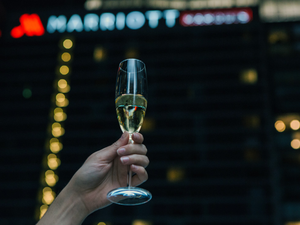 Houston, Marriott Marquis grand opening party, April 2017, champagne toast
