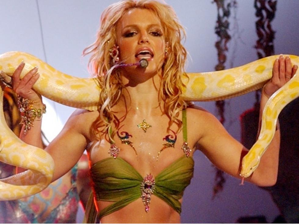 Britney Spears holding a python snake
