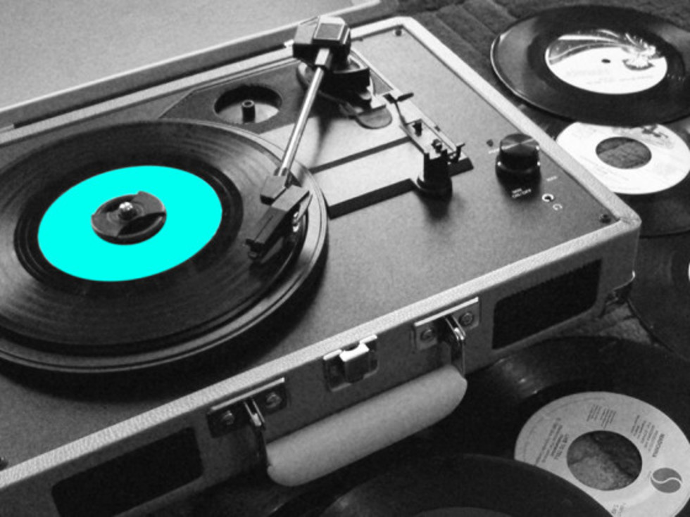 Soundtrack Series turntable with records