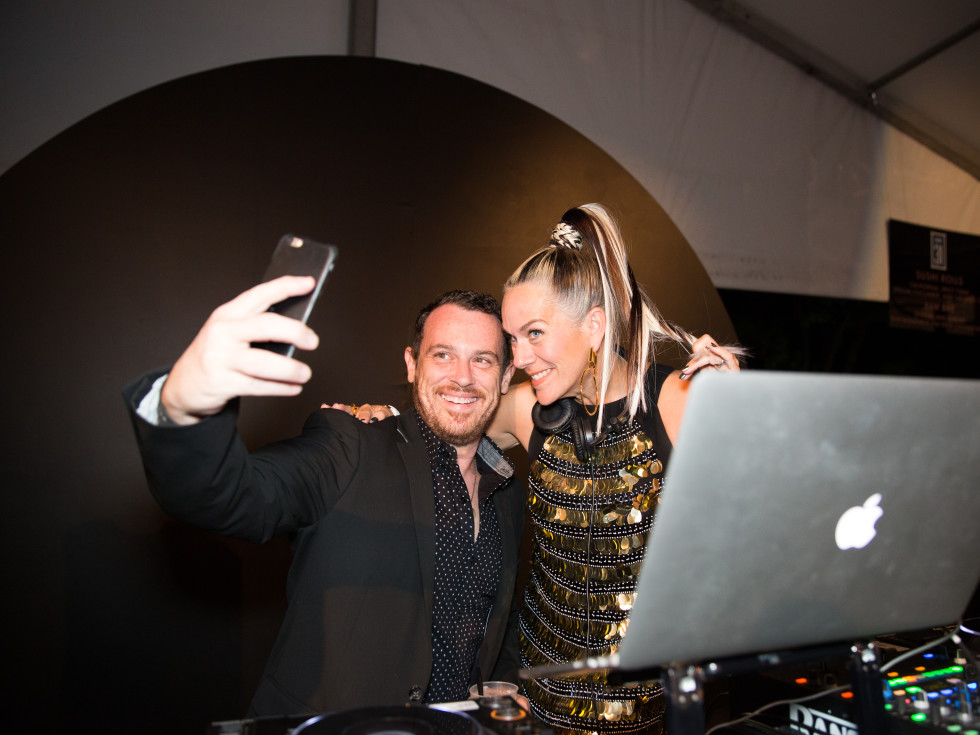 Lucy Wrubel takes selfie with guest