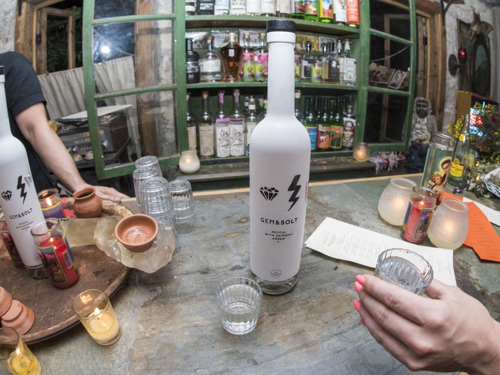 Gem and Bolt mezcal launch party Whisler's Mexcaleria Tobala June 2016 bar bottle