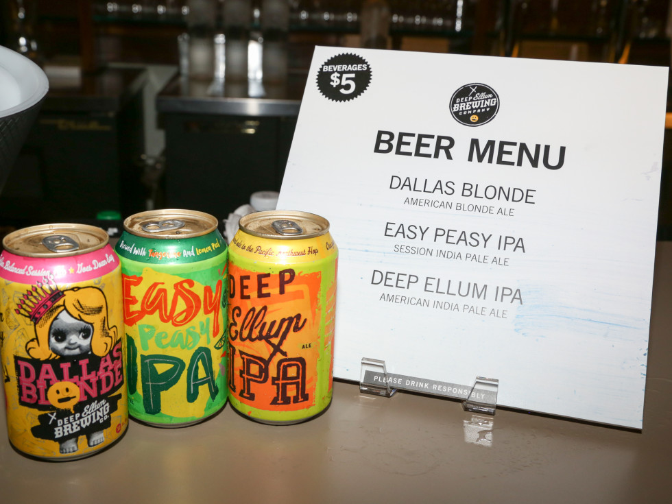 CultureMap Social: The Art Edition at Palm Door Deep Ellum Brewing Co can beers