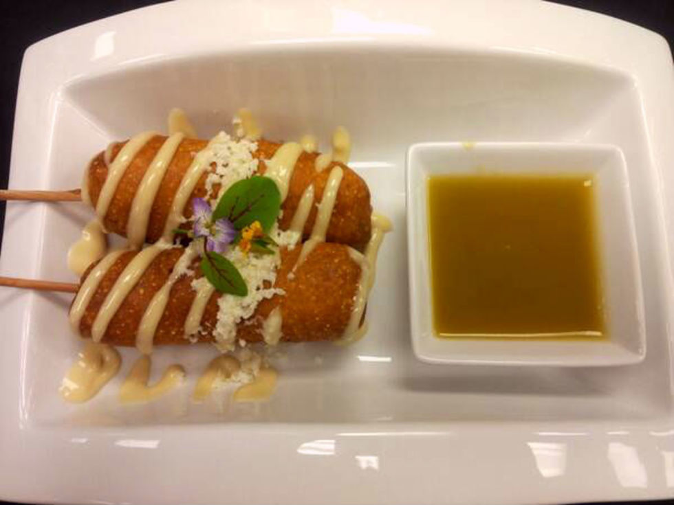 Kevin Spencer's pork belly corn dogs with bourbon mayo