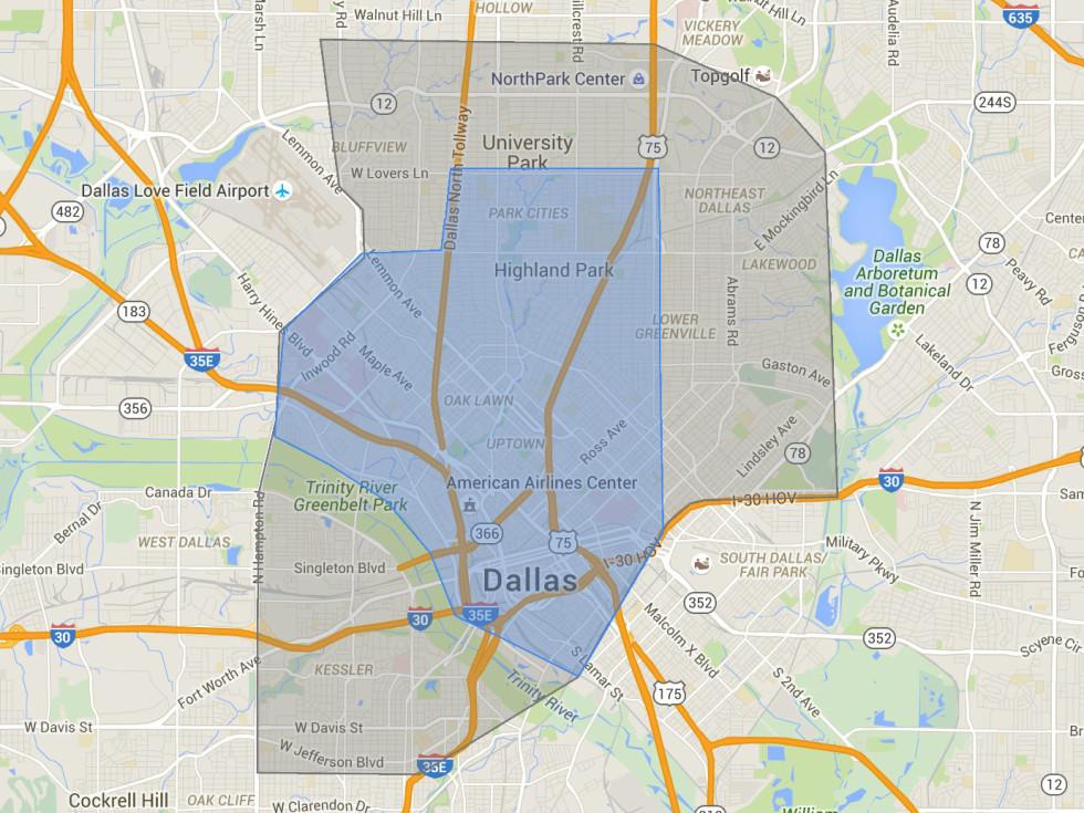 UberEats Dallas map