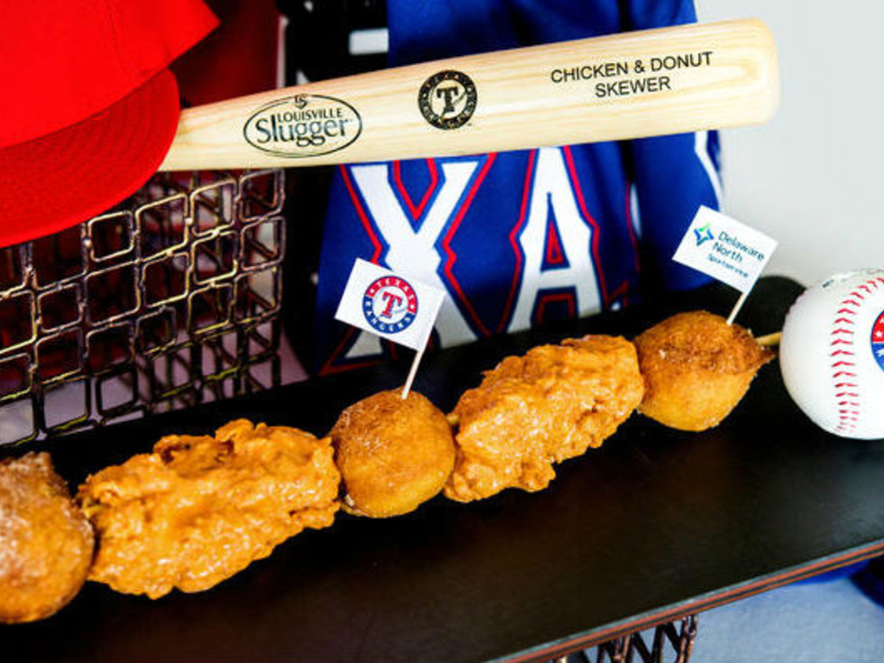 Chicken and doughnut skewer at Globe Life Park in Arlington