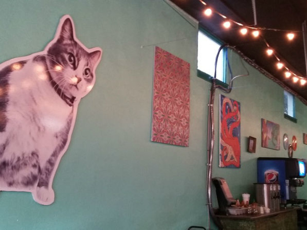 Eclectic decor adorn the Station Cafe's interior.