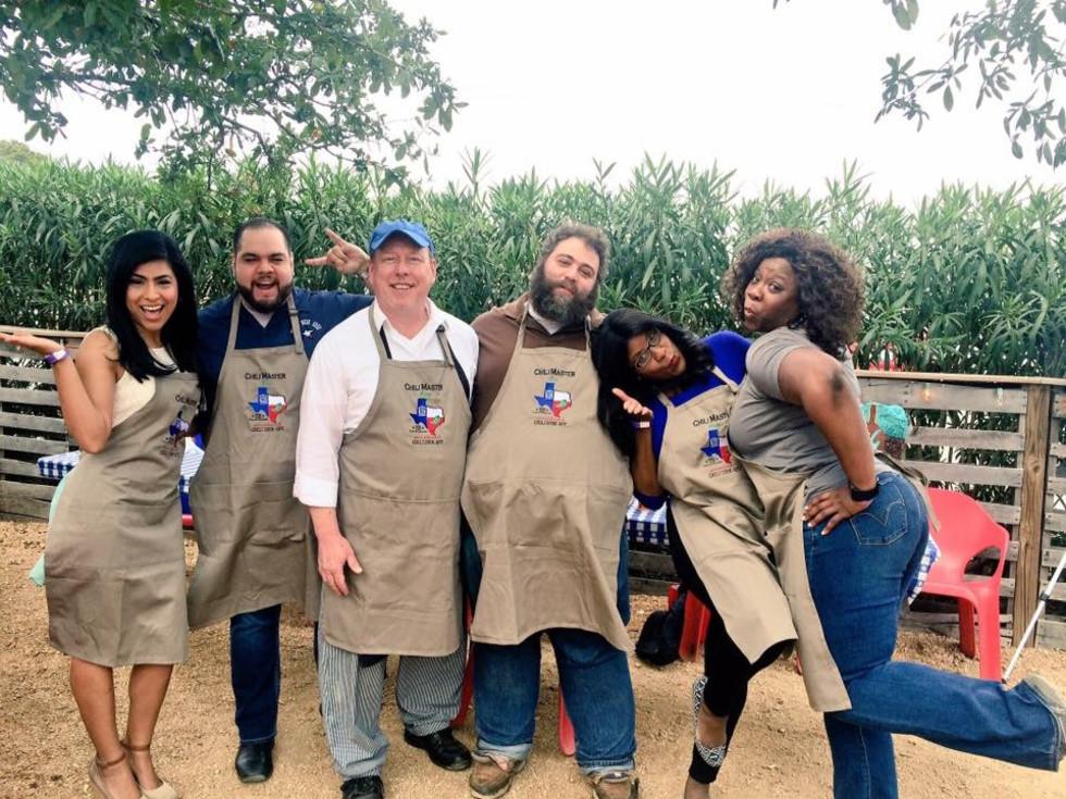 Casa de Esperanza chili cook-off, March 2016, Cathy Hernandez, Mike Cortez, Kevin Stricklnad, Eric Sandler, Shanna Jones, Felice Sloan