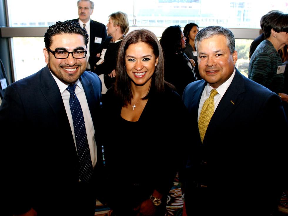 Neighborhood Centers luncheon, Feb. 2016, Armando Walle, Oriana Garcia, David Vasquez