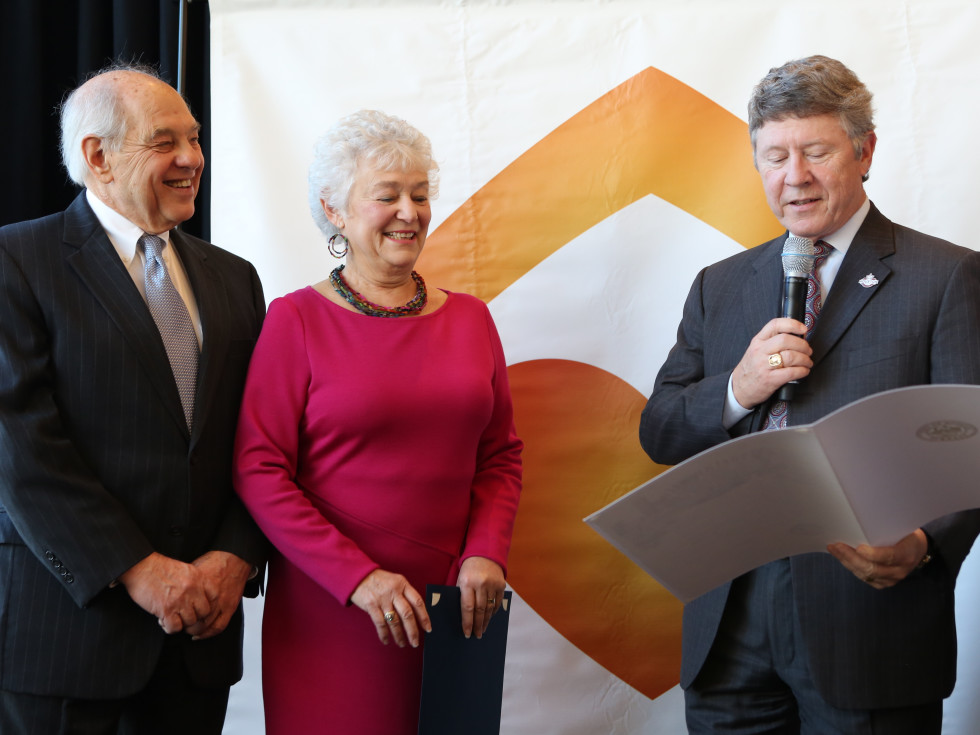 Neighborhood Centers luncheon, Feb. 2016, Vic Samuels, Bobby Samuels, Ed Emmett
