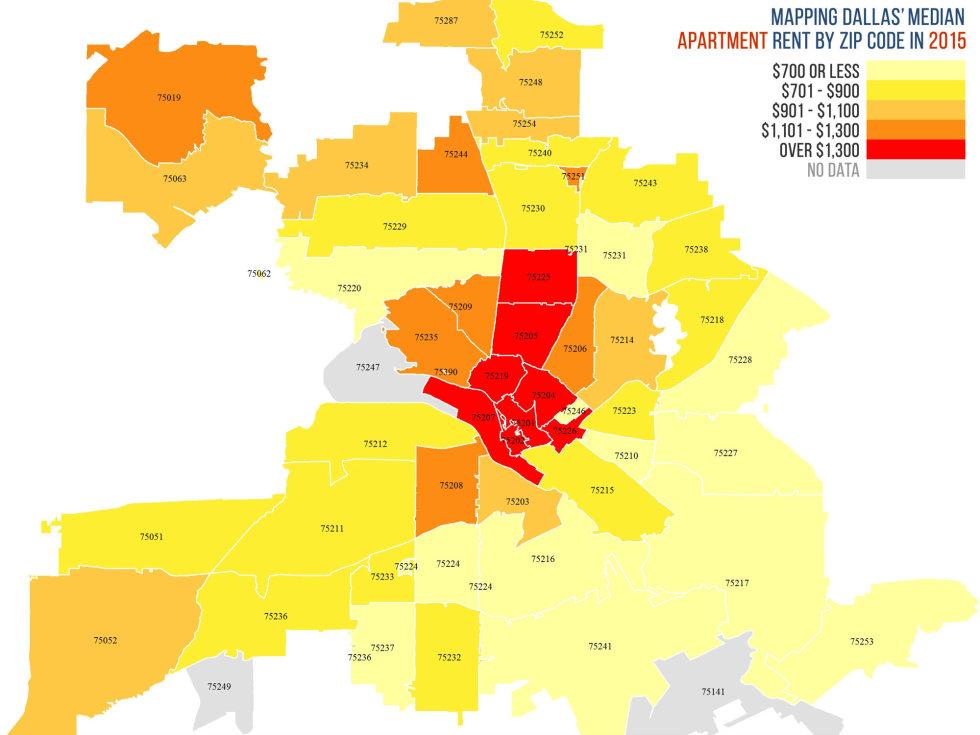 Rent heat map in Dallas
