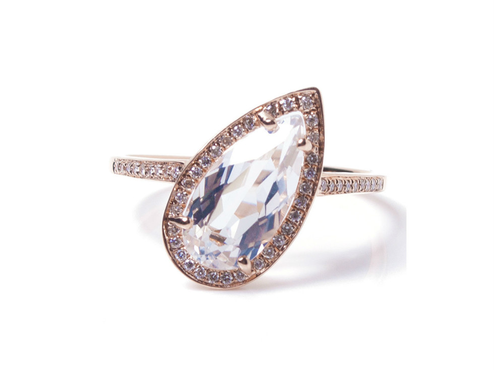 Pratiksha Madison On Tilt white topaz and diamond halo ring