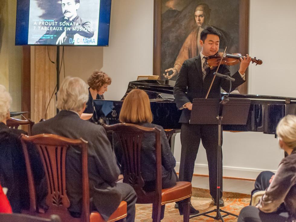 Houston, Da Camera VIP launch event for Sarah's Marcel Proust Project, Sarah on piano, Boson on violin